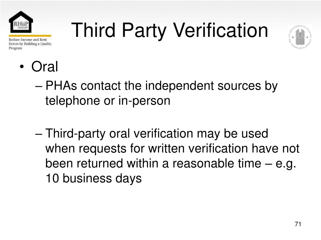 Third Party Verification