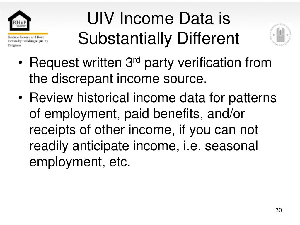 UIV Income Data is Substantially Different