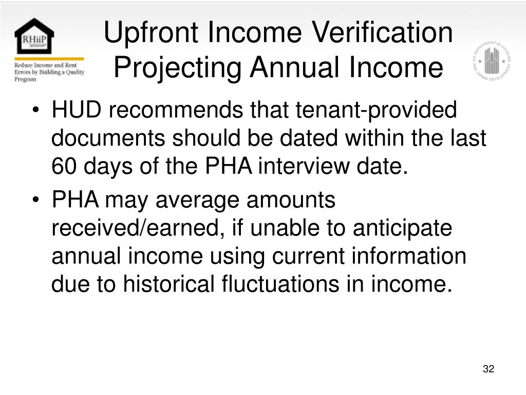 Upfront Income Verification Projecting Annual Income