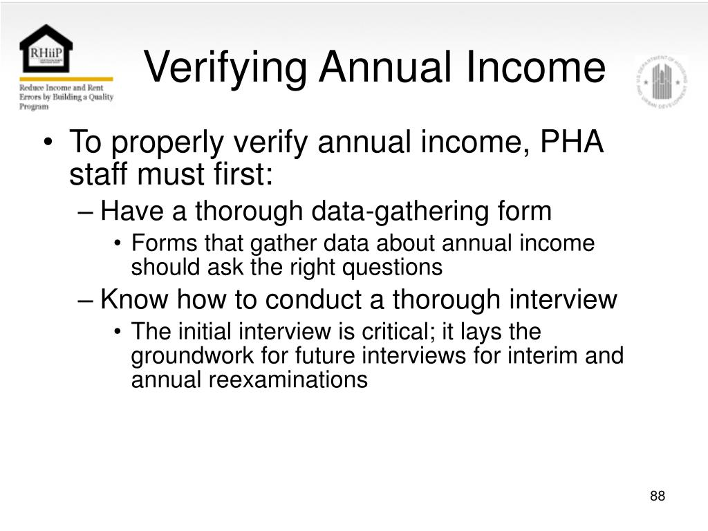 Verifying Annual Income