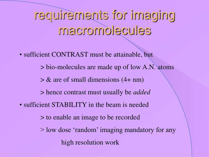 Requirements for imaging macromolecules