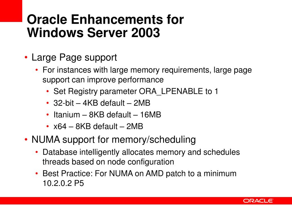 Oracle Enhancements for
