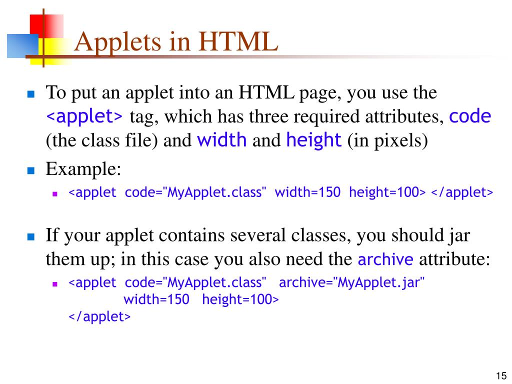Applets in HTML