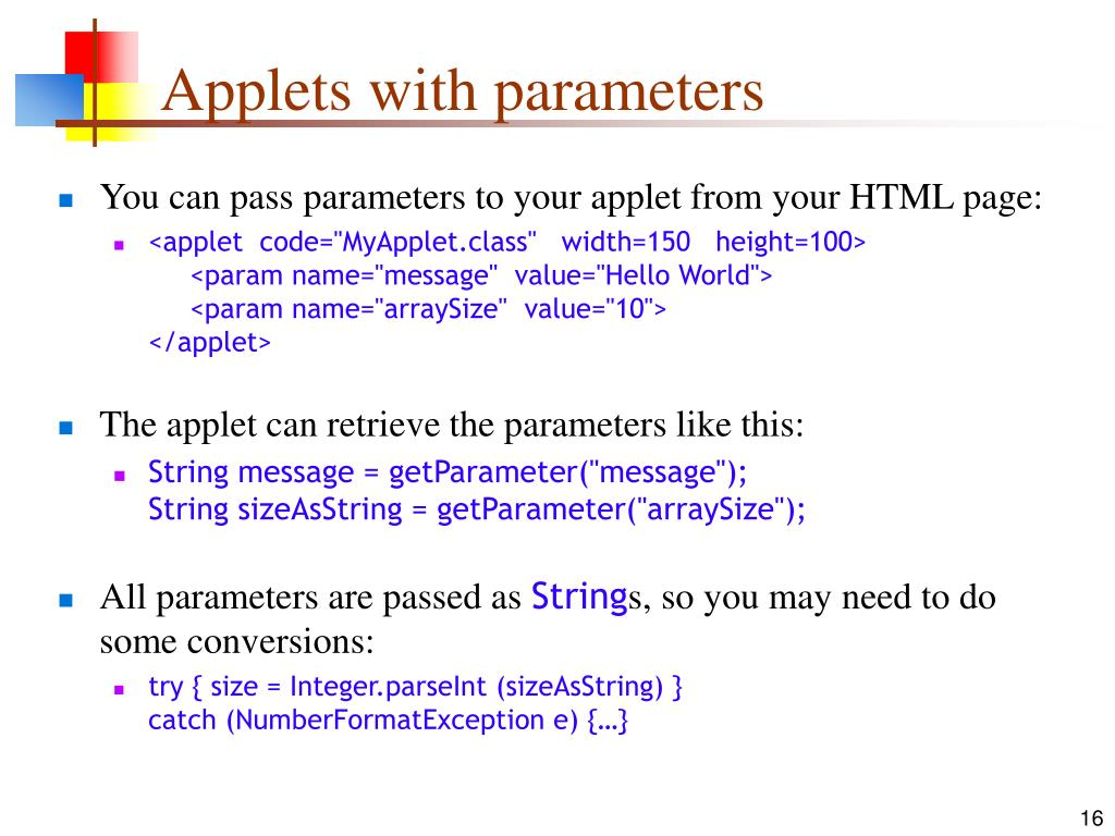 Applets with parameters