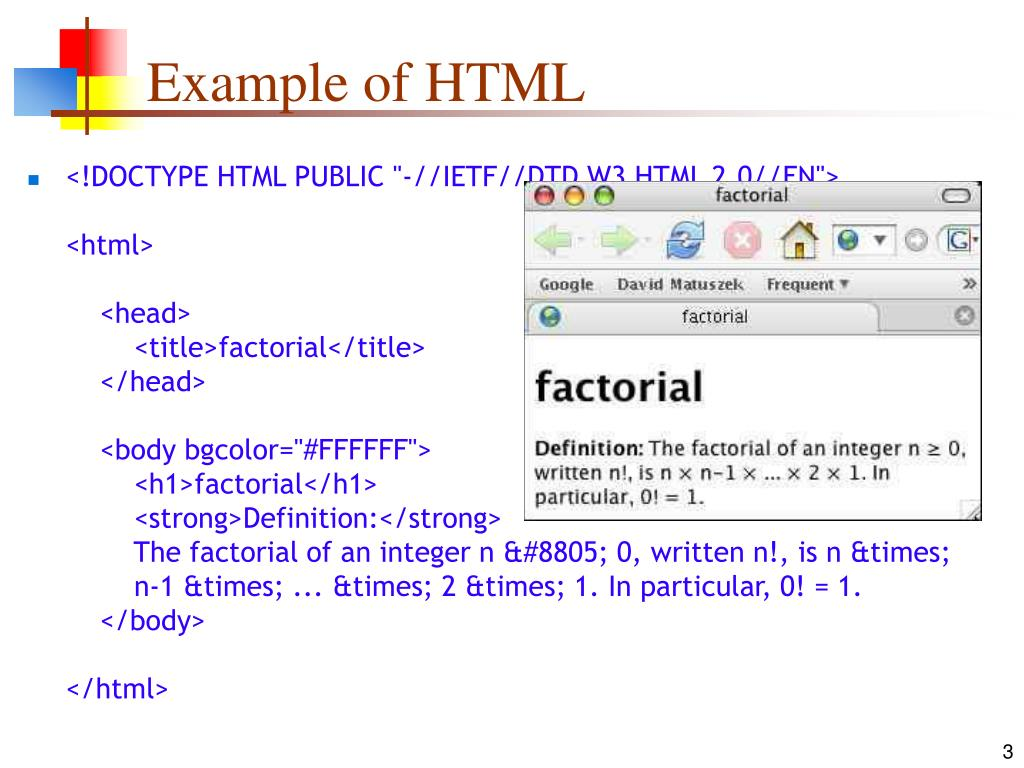 Example of HTML