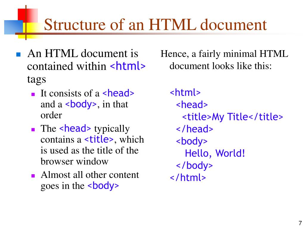 An HTML document is contained within