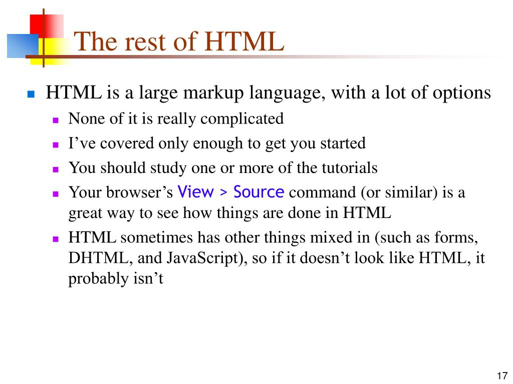 The rest of HTML