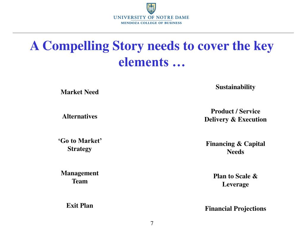 A Compelling Story needs to cover the key elements …