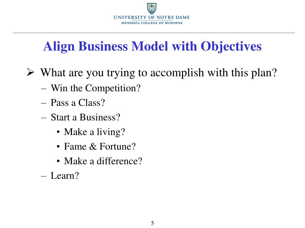 Align Business Model with Objectives