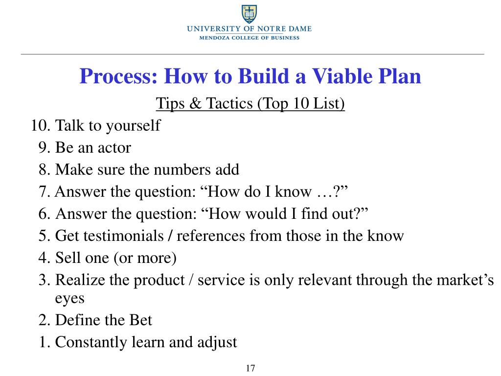 Process: How to Build a Viable Plan