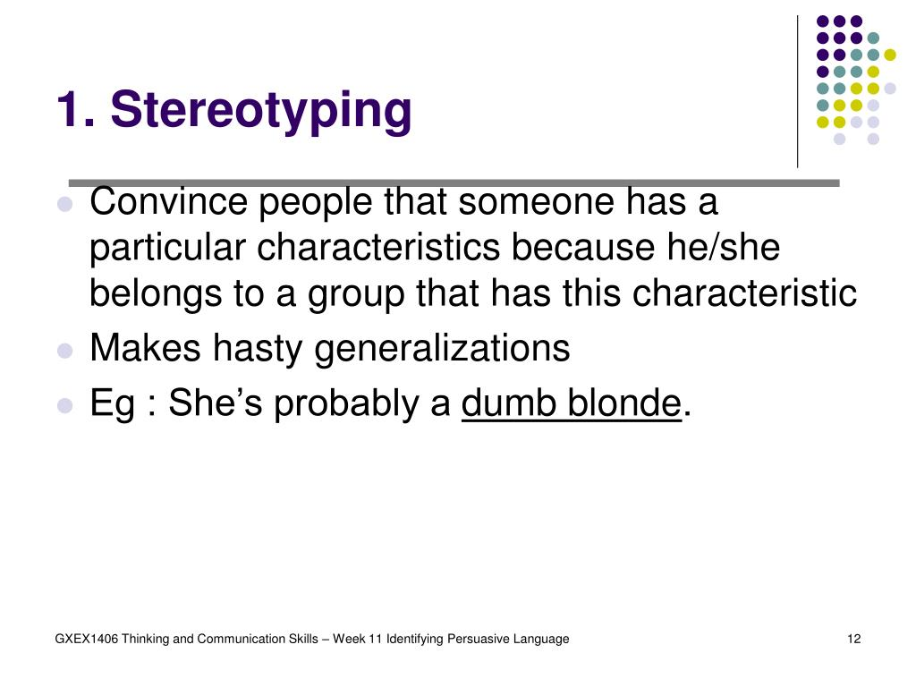 1. Stereotyping