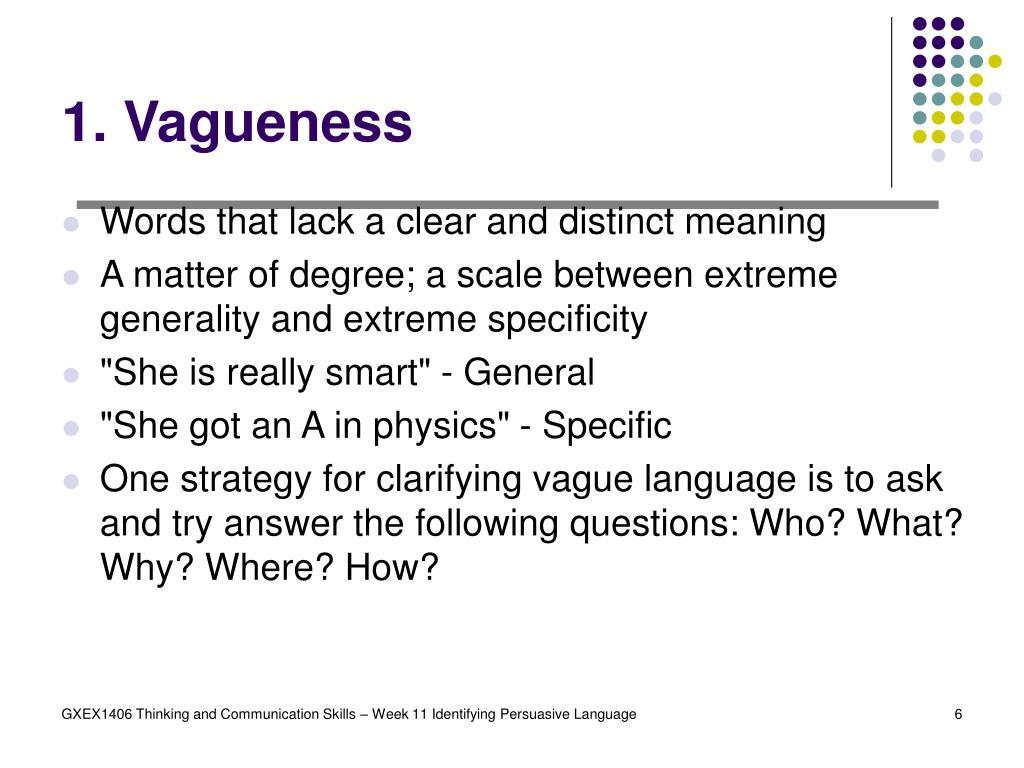 1. Vagueness