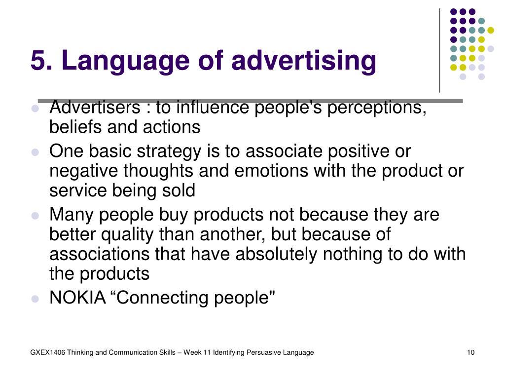 5. Language of advertising