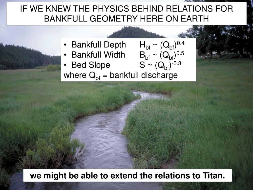 IF WE KNEW THE PHYSICS BEHIND RELATIONS FOR BANKFULL GEOMETRY HERE ON EARTH