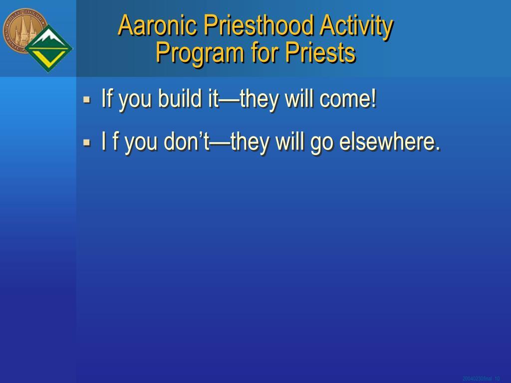 Aaronic Priesthood Activity