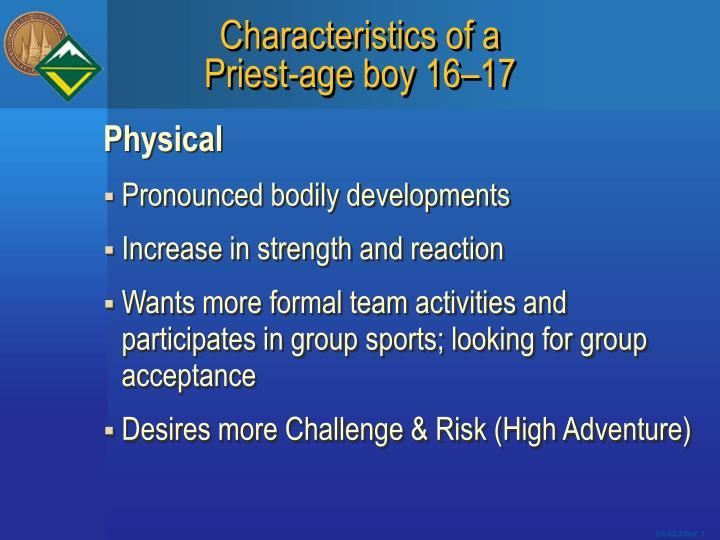 Characteristics of a priest age boy 16 17