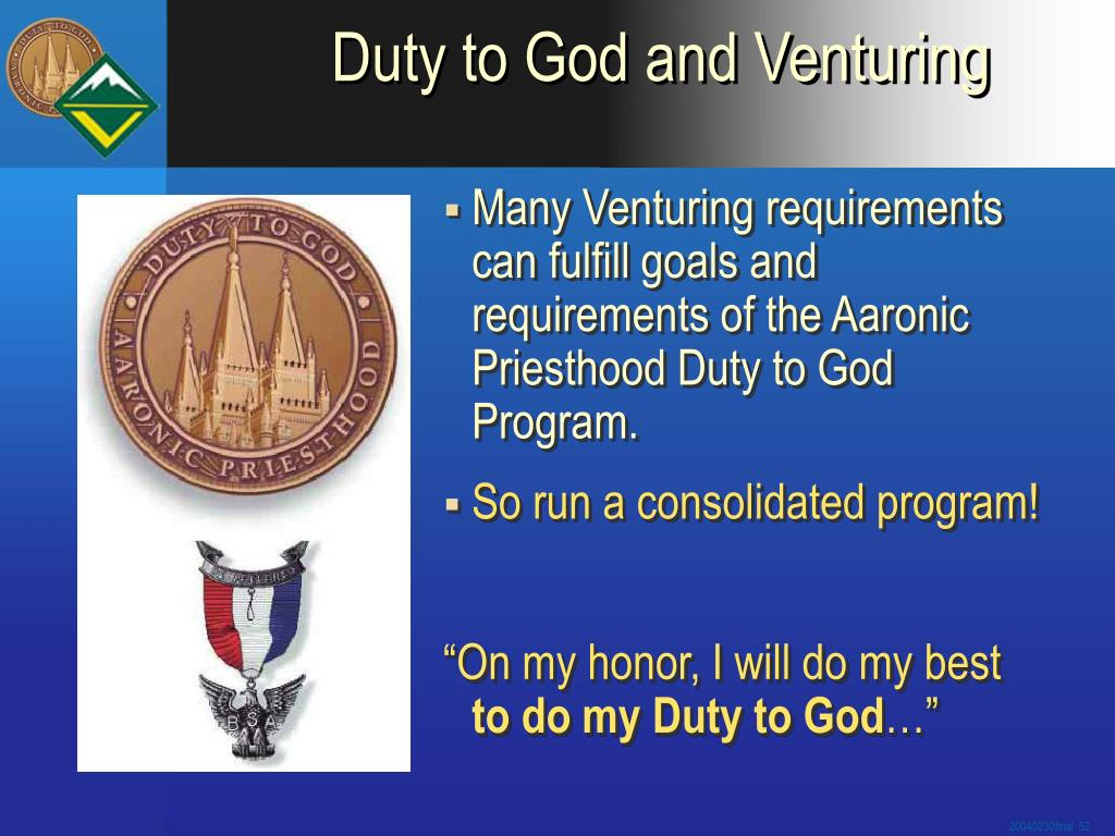 Duty to God and Venturing