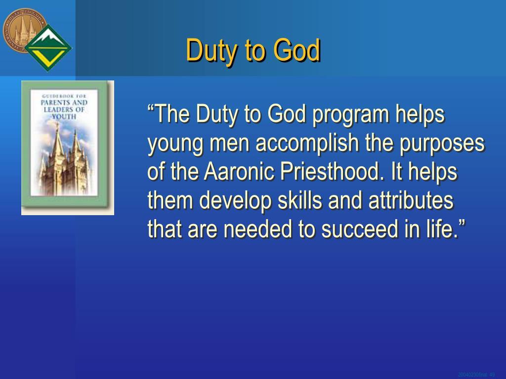 Duty to God