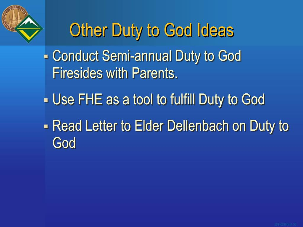 Other Duty to God Ideas