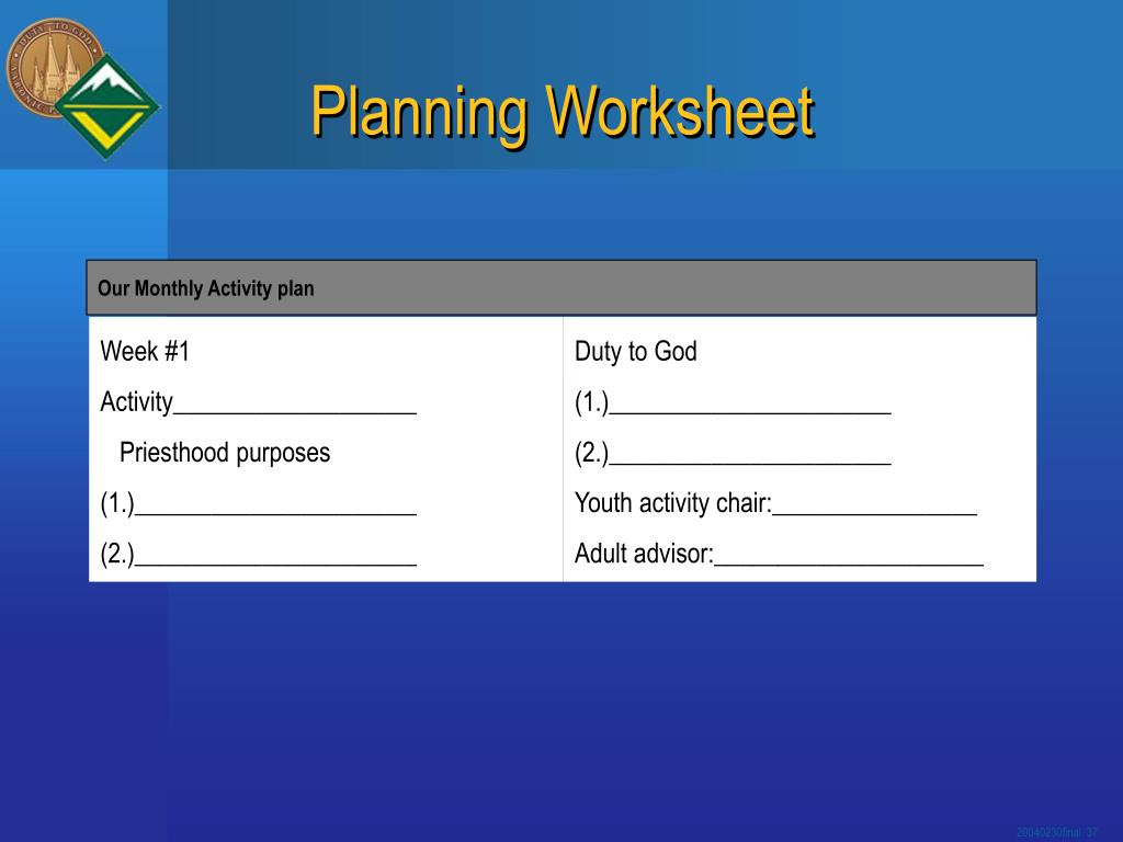 Our Monthly Activity plan
