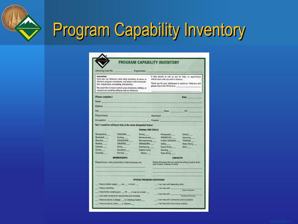 Program Capability Inventory