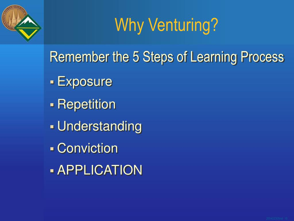 Why Venturing?