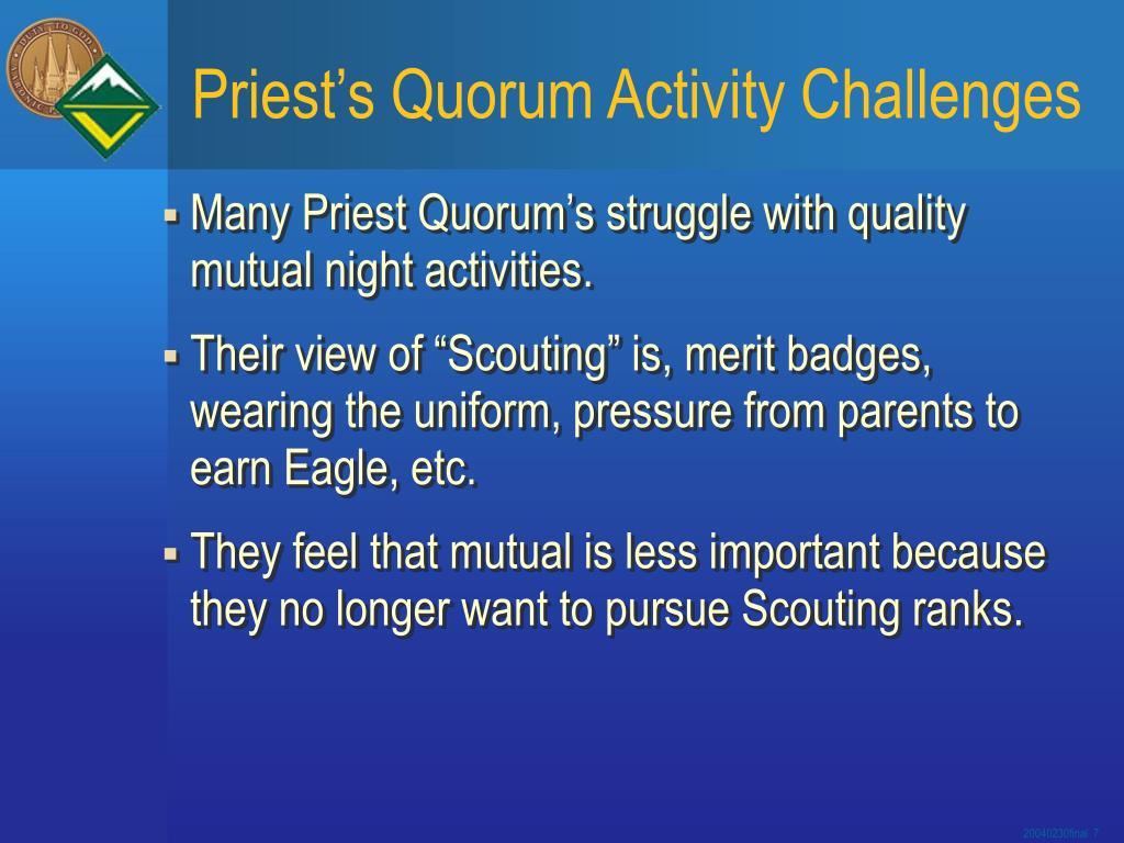 Priest's Quorum Activity Challenges