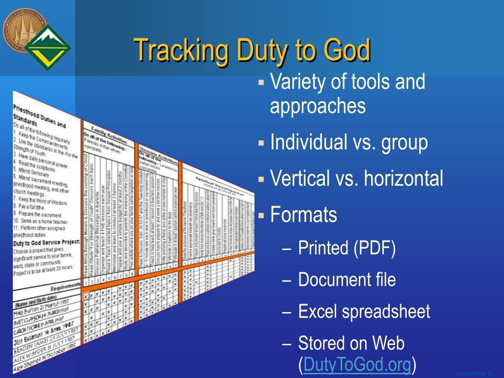 Tracking Duty to God