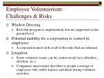 employee volunteerism challenges risks