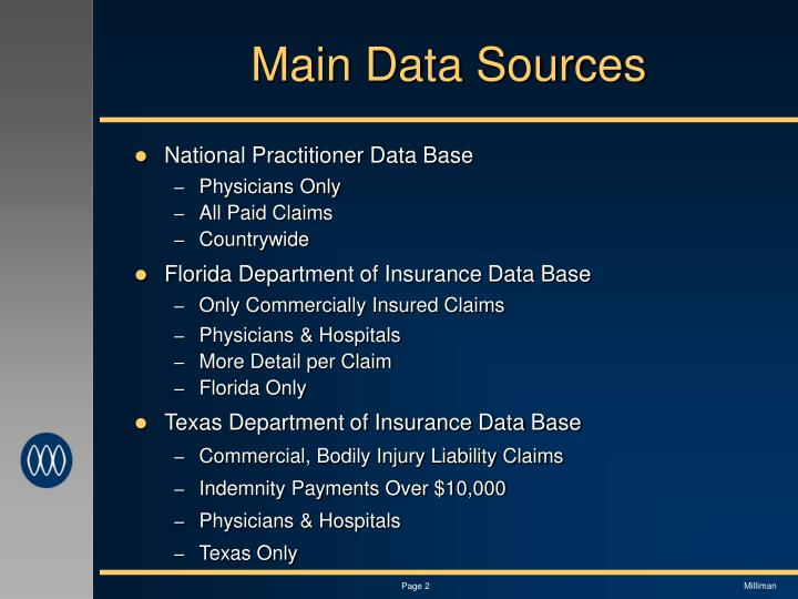 Main data sources