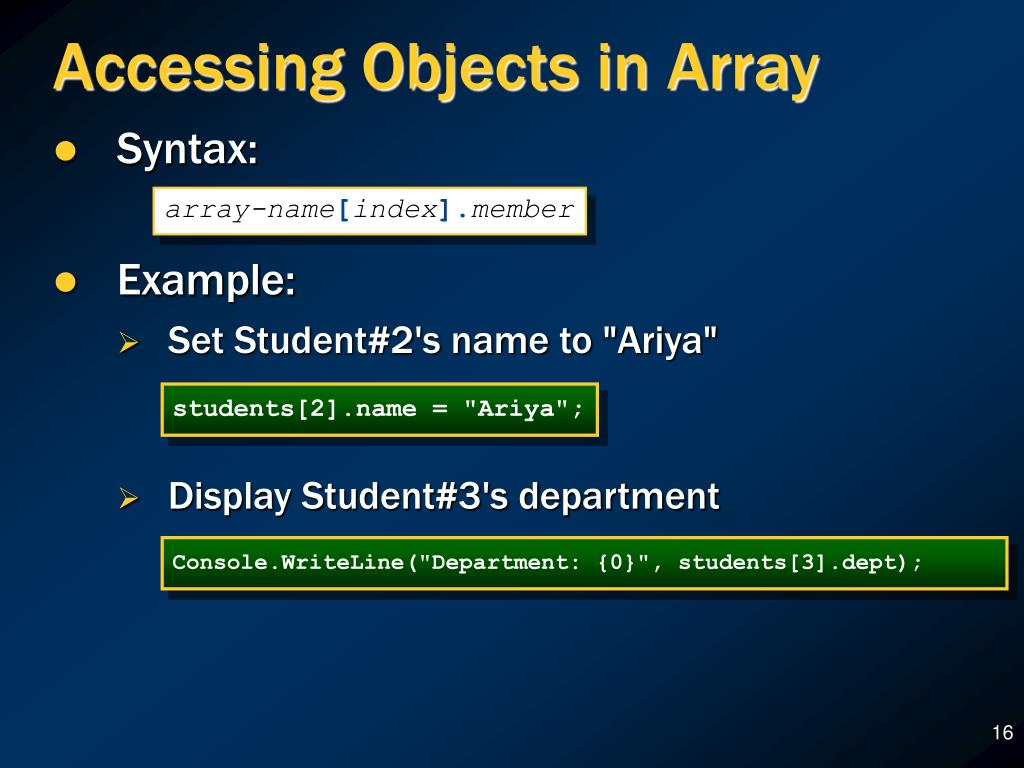 Accessing Objects in Array