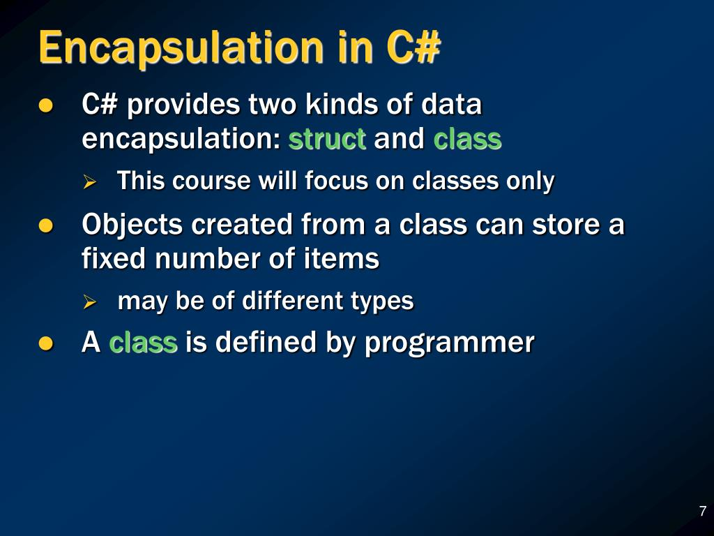 Encapsulation in C#