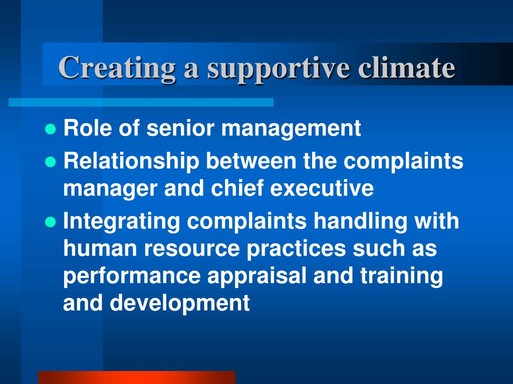 Creating a supportive climate