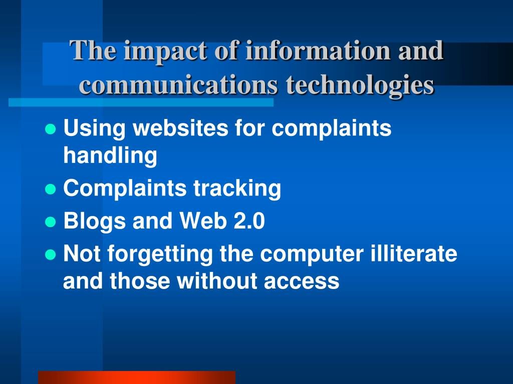 The impact of information and communications technologies