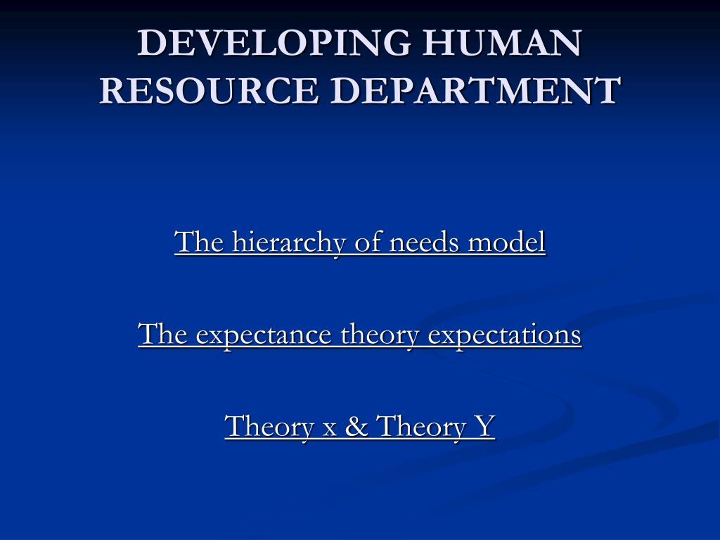 DEVELOPING HUMAN RESOURCE DEPARTMENT