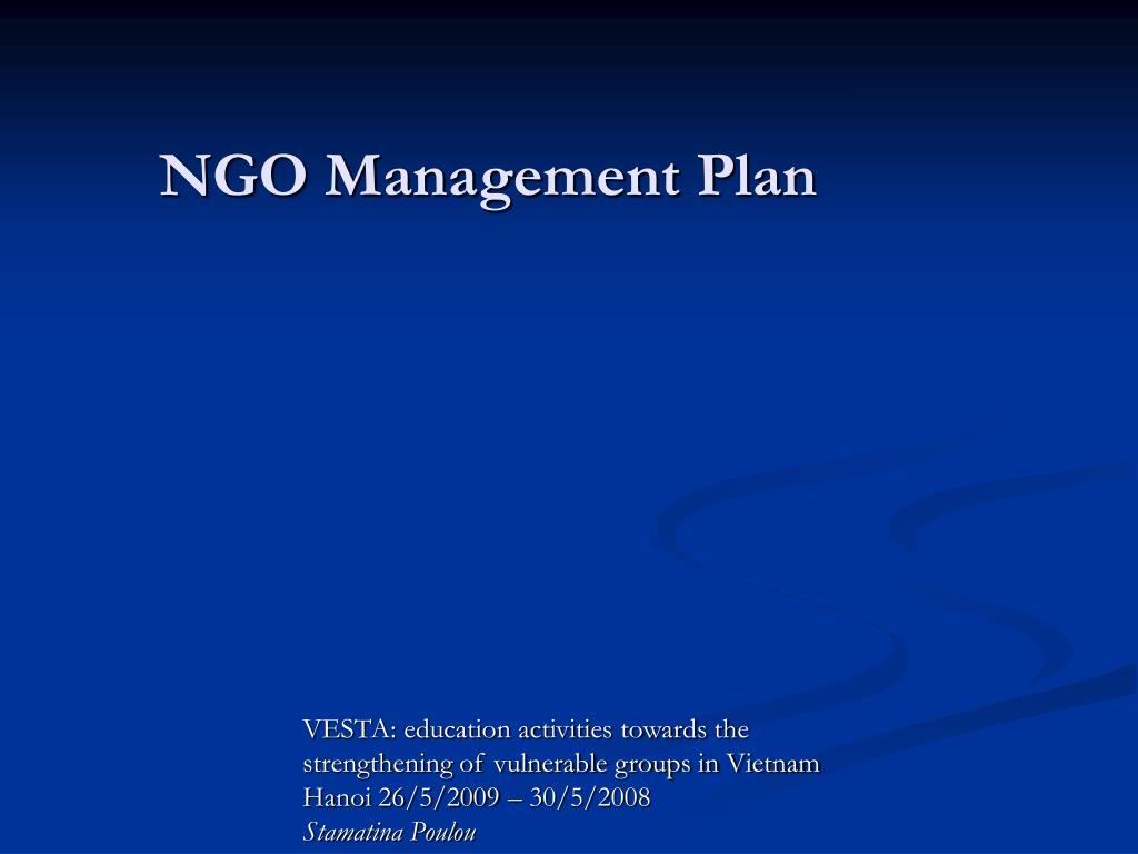 NGO Management Plan