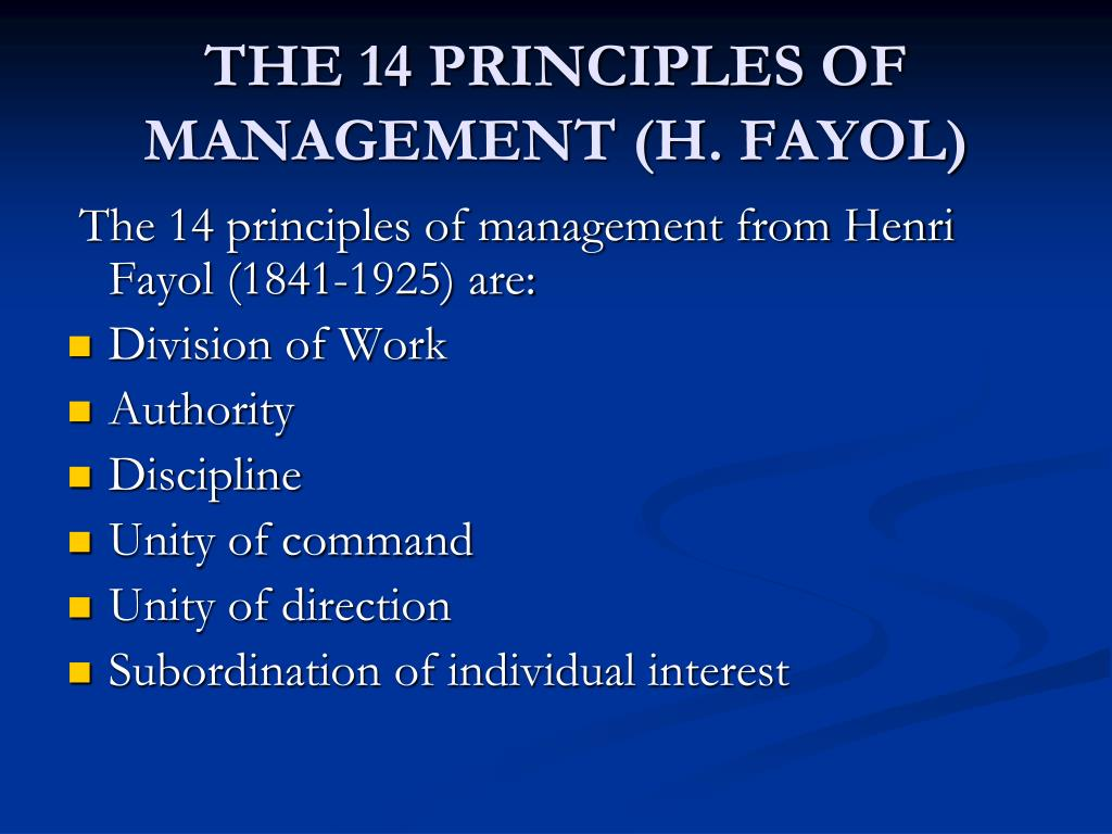 THE 14 PRINCIPLES OF MANAGEMENT (H. FAYOL)