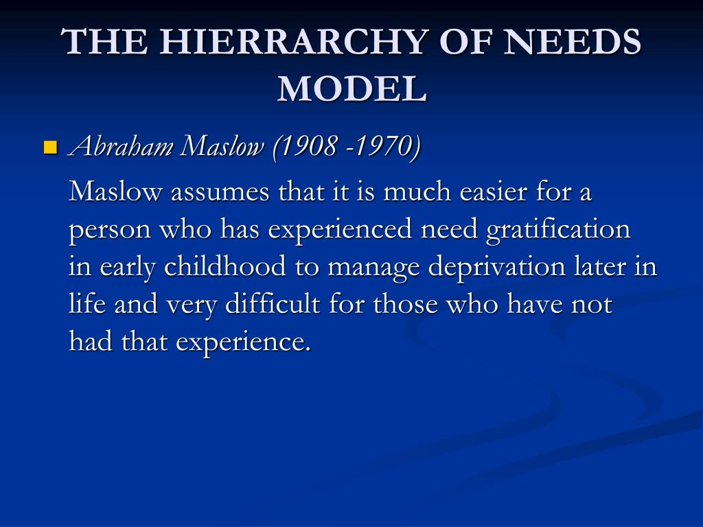 THE HIERRARCHY OF NEEDS MODEL