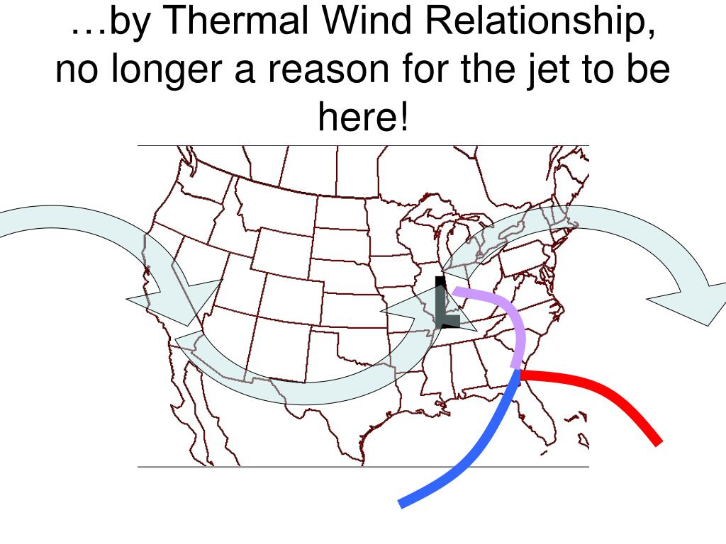 …by Thermal Wind Relationship, no longer a reason for the jet to be here!