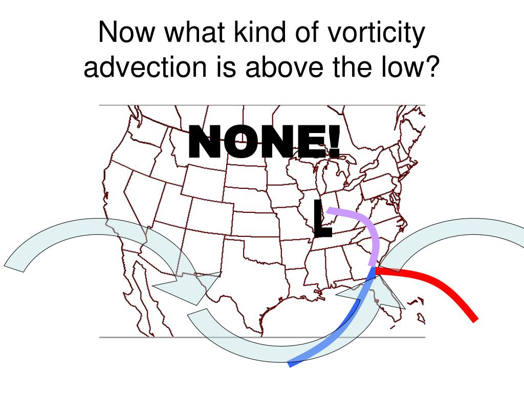 Now what kind of vorticity advection is above the low?