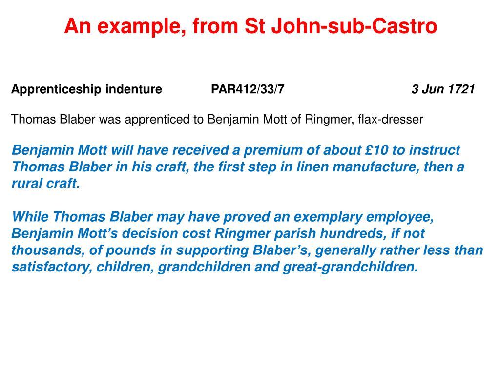 An example, from St John-sub-Castro