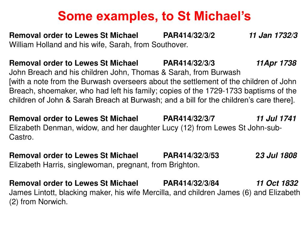 Some examples, to St Michael's
