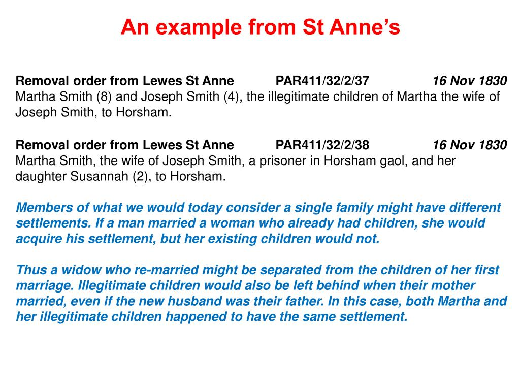 An example from St Anne's
