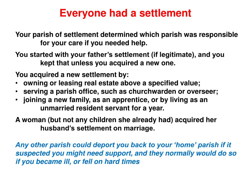 Everyone had a settlement
