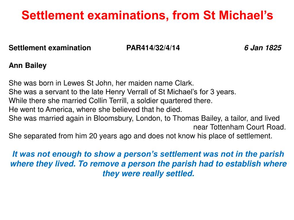 Settlement examinations, from St Michael's