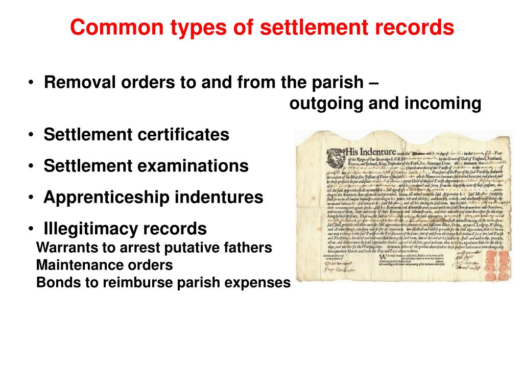 Common types of settlement records