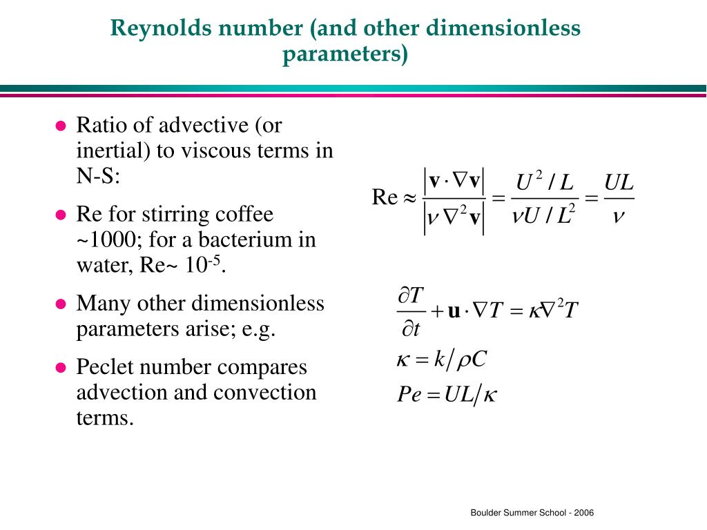 Reynolds number (and other dimensionless parameters)