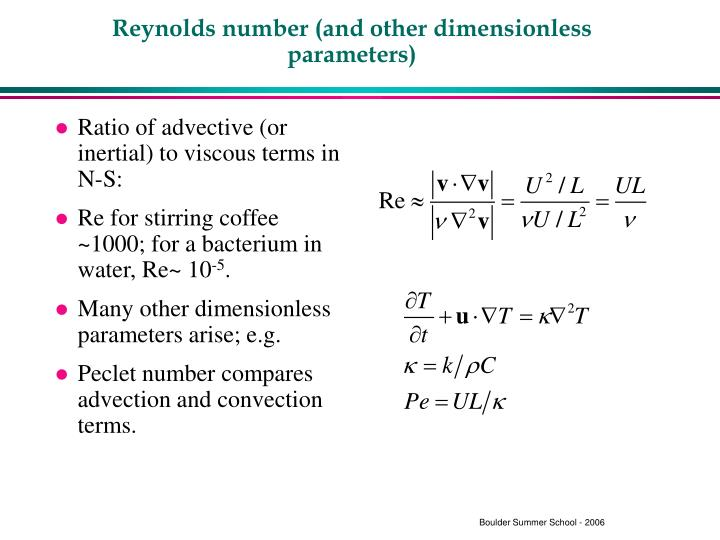 Reynolds number and other dimensionless parameters