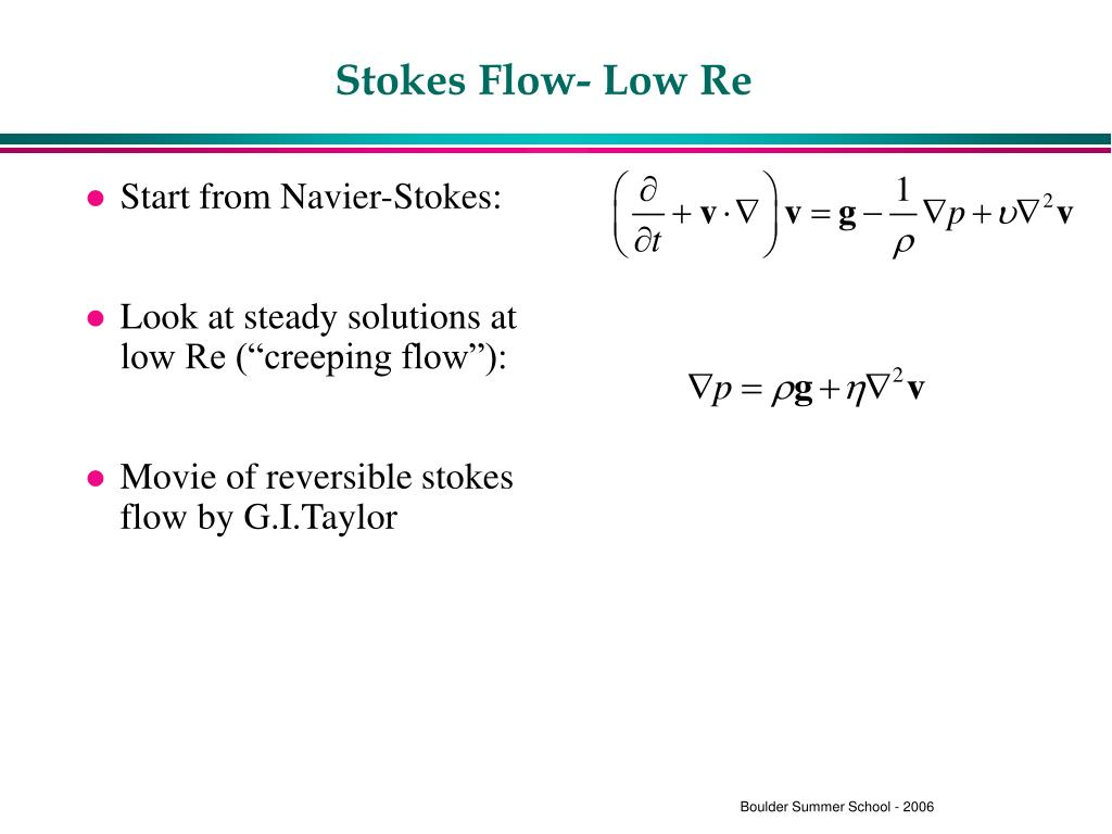 Stokes Flow- Low Re