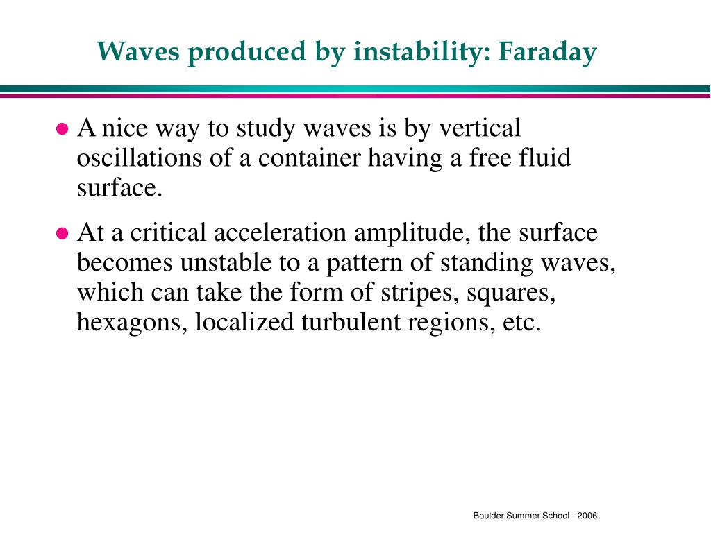 Waves produced by instability: Faraday